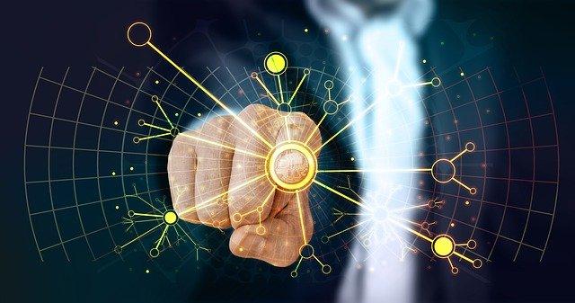 doigts qui appuie sur des traits digital système informatique